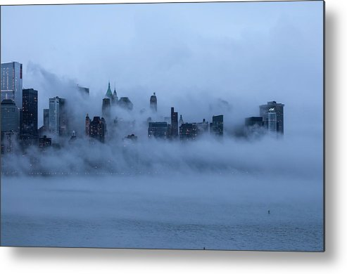 Dawn Metal Print featuring the photograph Foggy New York City by Laverrue Was Here