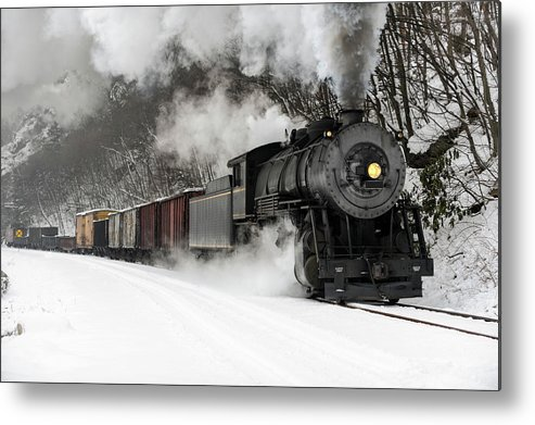 Scenics Metal Print featuring the photograph Freight Train With Steam Locomotive by Catnap72
