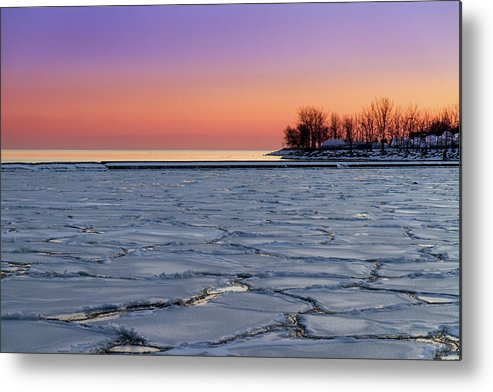 Scenics Metal Print featuring the photograph Frozen Lake Ontario Sunset by Frank Lee