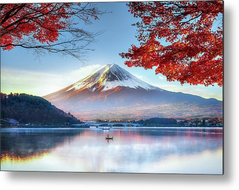 Snow Metal Print featuring the photograph Fuji Mountain In Autumn by Doctoregg
