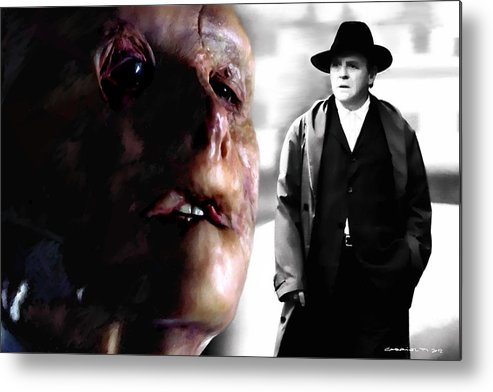 Anthony Hopkins Metal Print featuring the digital art Gary Oldman and Anthony Hopkins in the film Hanibbal by Ridley Scott by Gabriel T Toro