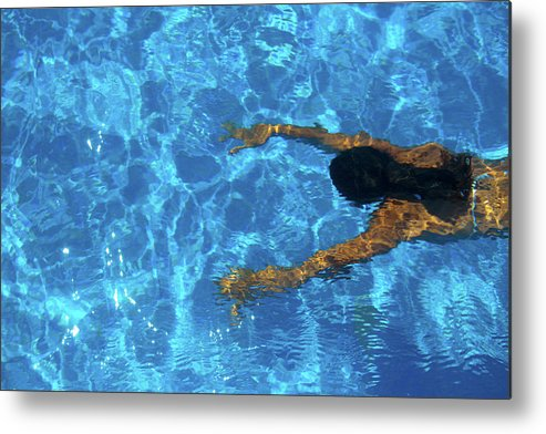 Underwater Metal Print featuring the photograph Girl Underwater In A Swimming Pool by Caracterdesign
