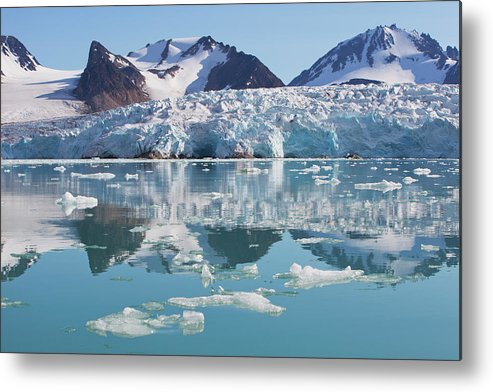 Scenics Metal Print featuring the photograph Glaciers Tumble Into The Sea In The by Anna Henly