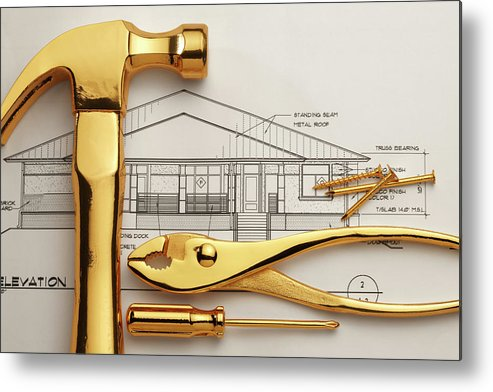 Plan Metal Print featuring the photograph Gold Plated Tools And Blueprints by Dny59