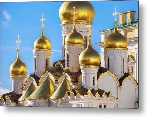 Annunciation Metal Print featuring the photograph Golden Domes Of The Russian Church by Mordolff