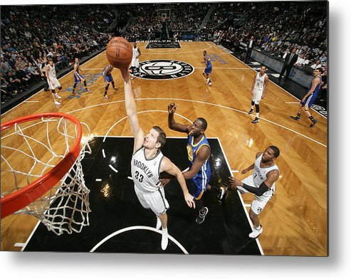 Nba Pro Basketball Metal Print featuring the photograph Golden State Warriors V Brooklyn Nets by Nathaniel S. Butler
