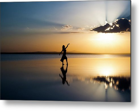 Ballet Dancer Metal Print featuring the photograph Grace At Sunset by Guvendemir