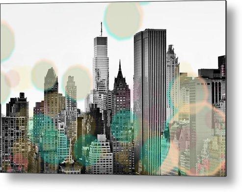 Gray Metal Print featuring the digital art Gray City Beams by Sundance B