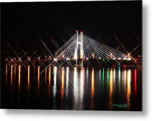 Great River Bridge Metal Print featuring the photograph Great River Bridge Star Filter by Holly Carpenter