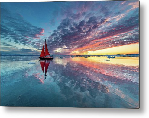 Greenland Metal Print featuring the photograph Greenland Fire Sky by Marc Pelissier
