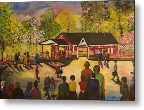 Nature Metal Print featuring the painting Hall Meeting by Lorenzo Roberts