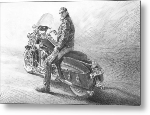 <a Href=http://miketheuer.com Target =_blank>www.miketheuer.com</a> Harley Rider Pencil Portrait Metal Print featuring the drawing Harley Rider Pencil Portrait by Mike Theuer