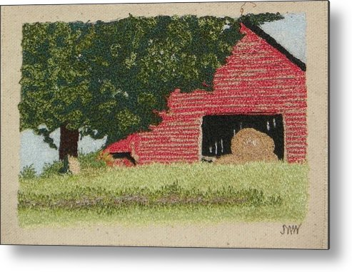 Fiber Metal Print featuring the mixed media Hay Barn by Jenny Williams