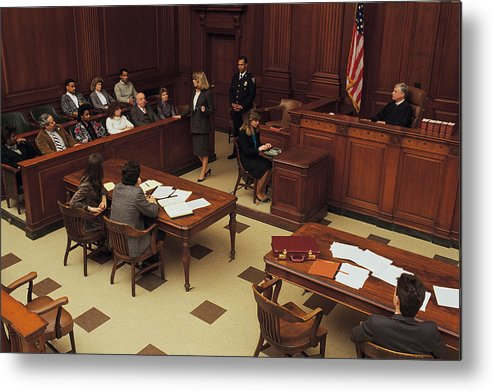 Crowd Metal Print featuring the photograph High angle view of courtroom by Comstock