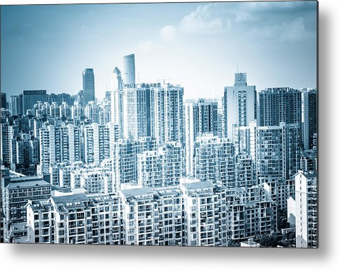 Residential District Metal Print featuring the photograph High Rise Residential Area by Aaaaimages