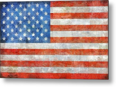 Flag Metal Print featuring the painting Homeland by Michelle Calkins
