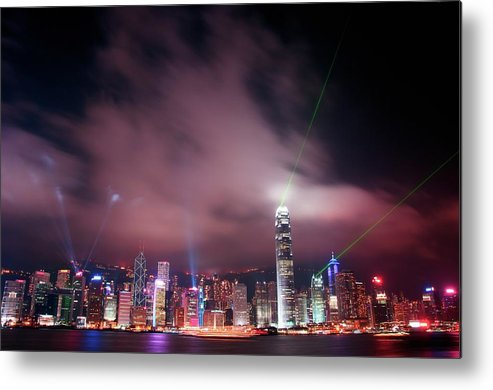 Tranquility Metal Print featuring the photograph Hong Kong Laser Lights by Photo By Dan Goldberger