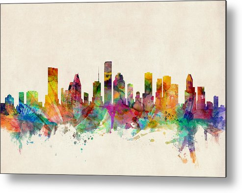 Watercolour Metal Print featuring the digital art Houston Texas Skyline by Michael Tompsett