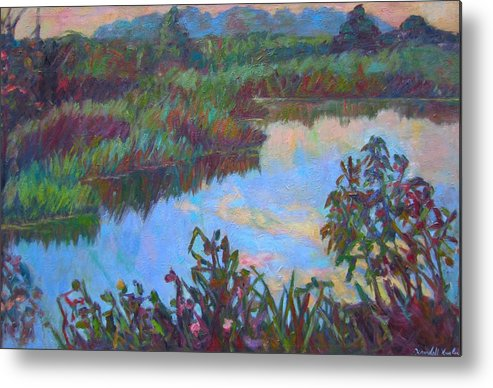 Landscape Metal Print featuring the painting Huckleberry Line Trail Rain Pond by Kendall Kessler