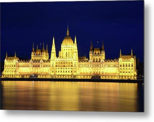 Hungarian Parliament Building Metal Print featuring the photograph Hungarian Parliament Building, Budapest by Dragos Cosmin Photos