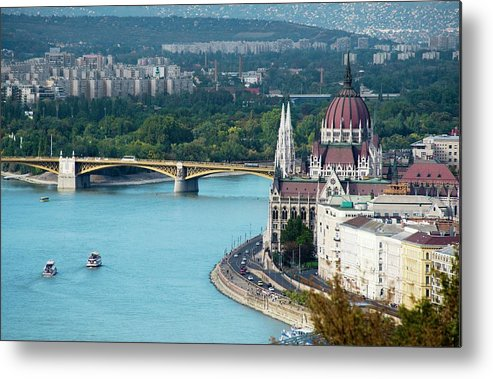 Arch Metal Print featuring the photograph Hungarian Parliament Building by Paul Biris