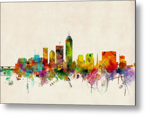Watercolour Metal Print featuring the digital art Indianapolis Indiana Skyline by Michael Tompsett