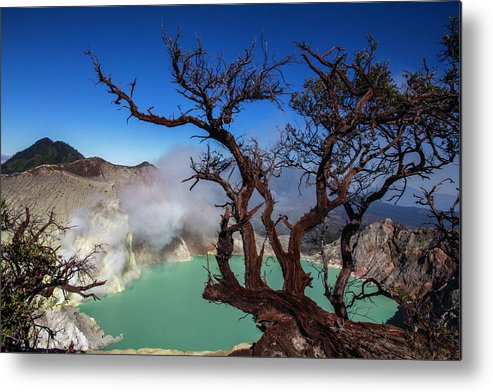 Crater Lake Metal Print featuring the photograph Indonesia, Java, Kawah Ijen by Andreas Kunz