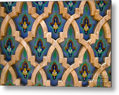 Zelij Metal Print featuring the photograph Intricate Zelji at the Hassan II Mosque Sour Jdid Casablanca Morocco by PIXELS XPOSED Ralph A Ledergerber Photography