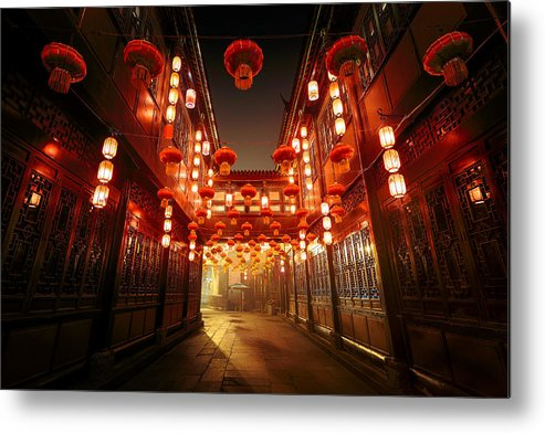 Chinese Culture Metal Print featuring the photograph Jinli Street, Chengdu, Sichuan, China by Kiszon Pascal