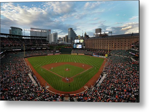 American League Baseball Metal Print featuring the photograph Kansas City Royals V Baltimore Orioles by Rob Carr