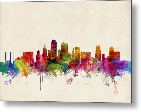 Watercolour Metal Print featuring the digital art Kansas City Skyline by Michael Tompsett