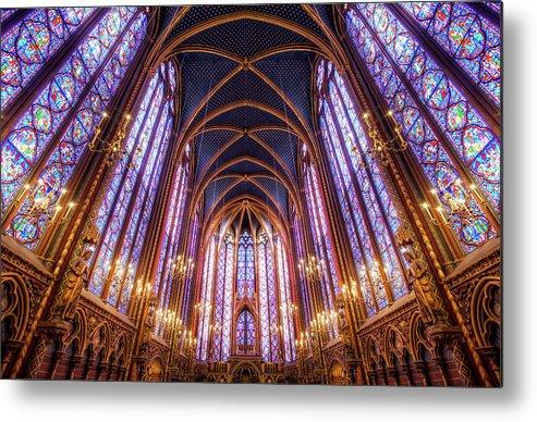 Arch Metal Print featuring the photograph La Sainte-chapelle Upper Chapel, Paris by Joe Daniel Price