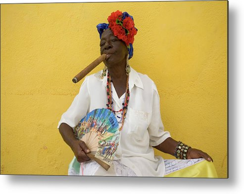 Smoking Metal Print featuring the photograph Lady With Fan And Cigar, Old Havana by Karl Blackwell