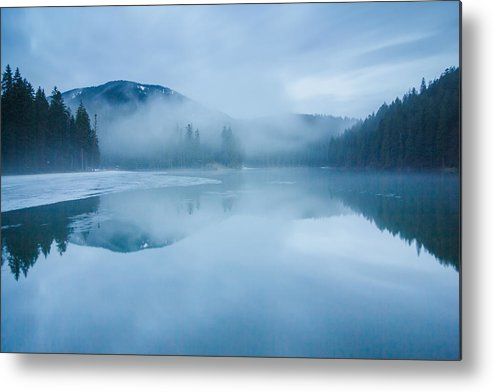 Scenics Metal Print featuring the photograph Lake Surrounded By Mountains And Forest by Verybigalex