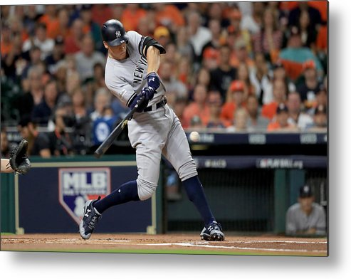 Championship Metal Print featuring the photograph League Championship Series - New York Yankees v Houston Astros - Game Seven by Ronald Martinez