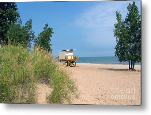 Landscape Metal Print featuring the photograph Life Guard Station by Cedric Hampton