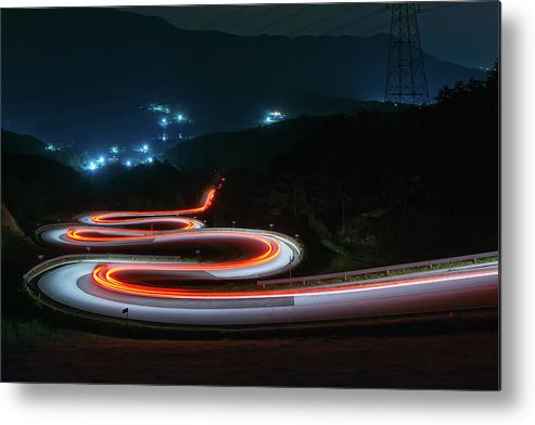 Zigzag Metal Print featuring the photograph Light Trails Of Cars On The Zigzag Way by Tokism