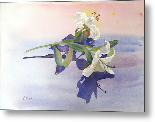Lily Metal Print featuring the painting Lilies At Rest by Patricia Novack