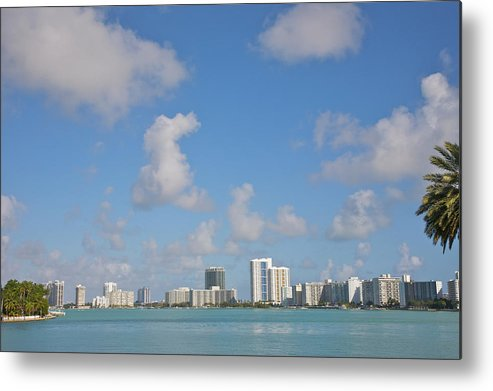 Residential District Metal Print featuring the photograph Line Of White Residential Towers Above by Barry Winiker