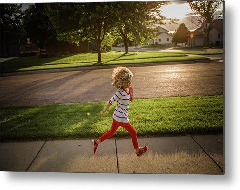 4-5 Years Metal Print featuring the photograph Little Girl Running by Annie Otzen