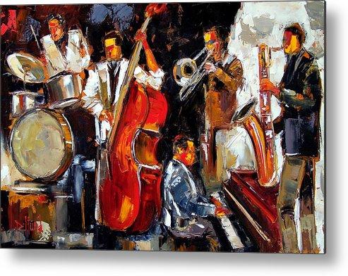Jazz Metal Print featuring the painting Living Jazz by Debra Hurd