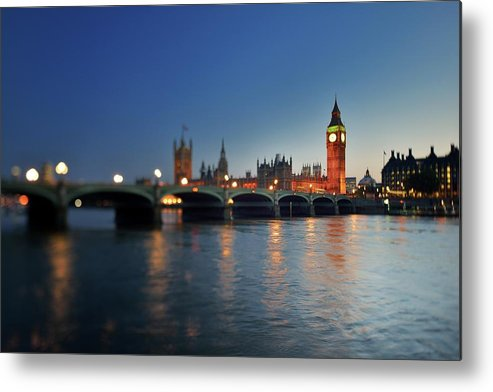 Tranquility Metal Print featuring the photograph London, Palace Of Westminster At Sunset by Vladimir Zakharov