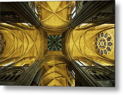 Arch Metal Print featuring the photograph Looking Up At A Cathedral Ceiling by James Ingham / Design Pics