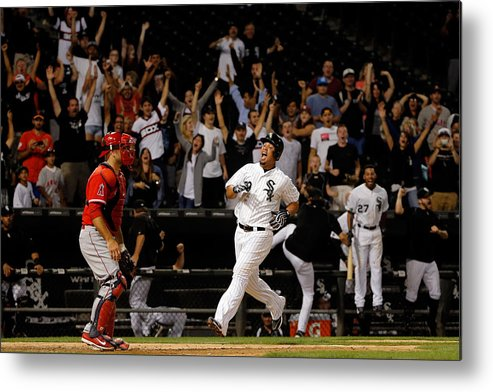 People Metal Print featuring the photograph Los Angeles Angels Of Anaheim V Chicago by Jon Durr