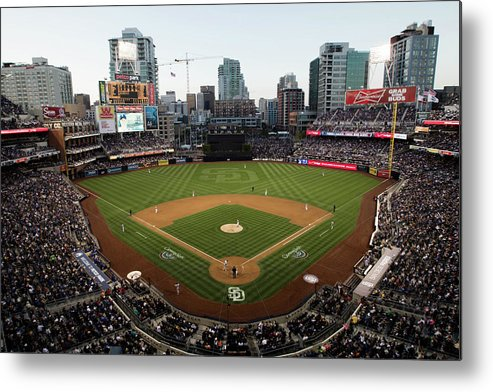 California Metal Print featuring the photograph Los Angeles Dodgers V. San Diego Padres by Rob Leiter