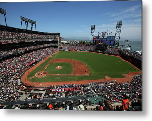 San Francisco Metal Print featuring the photograph Los Angeles Dodgers V. San Francisco by Brad Mangin
