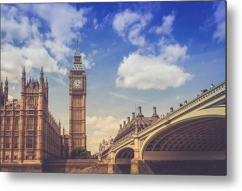 Clock Tower Metal Print featuring the photograph Low Angle View Of Westminster Bridge by Marco D'emilia / Eyeem