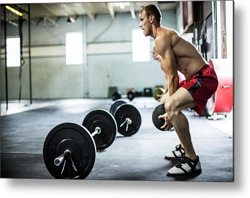 Atlanta Metal Print featuring the photograph Man Doing Gym Medicine Ball Slams by Momo Productions