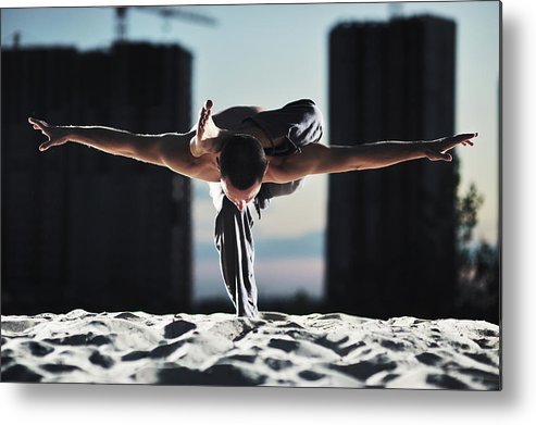 People Metal Print featuring the photograph Man Holding Yoga Pose In The Sand by Myshkovsky