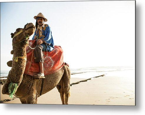 Agadir Metal Print featuring the photograph Man On Camel On Beach, Taghazout by Tim E White